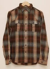NEW Ralph Lauren RRL DOUBLE RL Men's Brown Plaids Button Front Work Shirt S