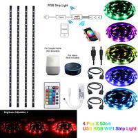 4xUSB Strip Light RGB LED TV Backlight Smart WiFi Light for Alexa Google Home 5V