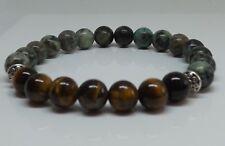 African Turquoise Tiger Eye 8mm Gemstone Beads Mens Yoga Stretch Bracelet Gift