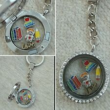 SPECIAL TEACHER Floating Memory Locket Charm Necklace Keyring Gift