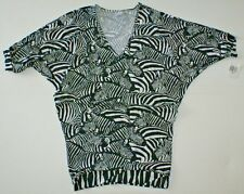 Trina Turk Womens Black White Tanzania Zebra Tunic Swim Cover Up Swimdress M NWT