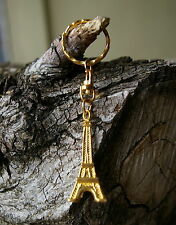 Eiffel Tower Keychain Keyring Key Chain Ring Gold Tone Metal Paris France
