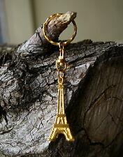 Eiffel Tower Keychain Keyring Key Chain Ring Gold Tone Metal Paris France