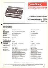 Nordmende Original Service Manual für HiFi stereo recorder 3000   6.437A