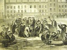 Queenstown Ireland LANDING of NEAPOLITAN EXILES 1859 Antique Art Print Matted
