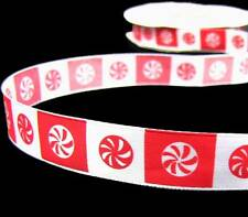 """5 Yds Christmas Peppermint Candy Red White Blocked Satin Ribbon 5/8""""W"""