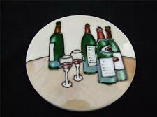 Ceramic Coaster Set with Metal Stand - Wine Bottle Design.