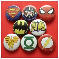 "SUPER HERO LOGOS 1"" buttons badges BATMAN GREEN LANTERN COMIC SUPERHERO"