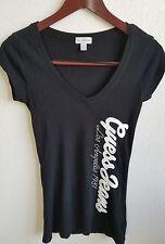 Guess Jeans Juniors Womens Black V-Neck T-Shirt top Logo Print Size XS D4