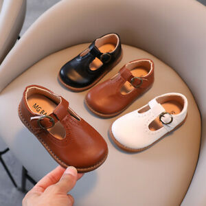 GIRLS LEATHER DRESS SHOES SCHOOL INFANT/JUNIOR T-BAR WEDDING PARTY SHOES SIZES