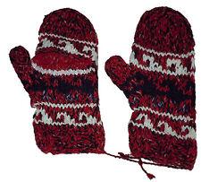 Winter GLITTEN - Red Handmade Natural Pakistani Wool - Texting Glove Mitten B5