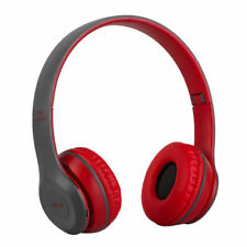 Wireless Bluetooth 4.2 Stereo Headphone Ear Pad Audio Foldable Headset Mic Red