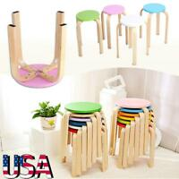 Small Anti-Slip Bent Wood Stool Wooden Chair Sturdy Home Shop Bar Bench Seating