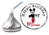 216 MICKEY MOUSE 1st BIRTHDAY PARTY FAVORS HERSHEY KISS LABELS