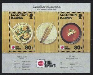 Solomon Islands Sc 707Ss Culinary Food made from Tuna, tori nanban, miso soup