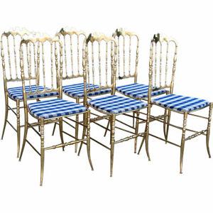 Set 6 Vintage Italian Chiavari Hollywood Regency Bronze Dining Chairs c. 1960