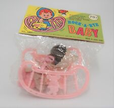 Vintage Rock a Bye Baby Plastic Doll in Infant Rocking Chair Woolworth 1901 NOS