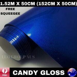 1.52M X 50CM CANDY GLOSS DARK BLUE METALLIC CAR VINYL WRAP FILM AIR RELEASE