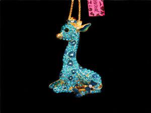 Women's Crystal Blue Cute Giraffe Pendant Sweater Chain Betsey Johnson Necklace