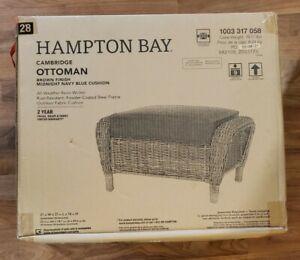 Hampton Bay Ottoman Wicker Cambridge Water Resistant Outdoor Blue Cushions Brown