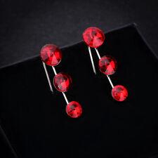 1Pair Fashion Ear Crawler Crystal Earrings Vine Bar Rhinestone Set Cuff Climber
