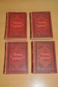 Shakespeare Werke 4 Bände rot geprägt antiquarisch ca. 1900