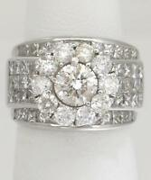 14k WHITE GOLD 5.00ct ROUND PRINCESS CUT FLOWER WIDE ENGAGEMENT WEDDING RING