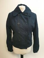 WOMENS LEVI'S STRAUSS BLUE DOUBLE BREASTED COTTON FUR LINED JACKET UK S 8