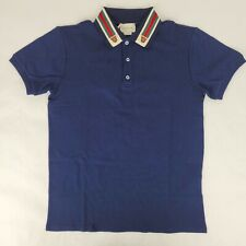 Gucci Kid's Blue Cotton GRG Collar and Tiger Heads Polo Shirt 12 564298 4585