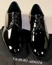 GIORGIO ARMANI SHOES BLACK PATENT CALFSKIN GOODYEAR WELTED DERBY 9.5 US 42.5 NEW
