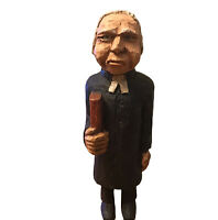 Hand Carved Wood Old Man Preacher Holding Bible Preaching Religion Folk Art