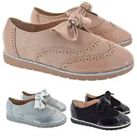 LADIES BROGUE EVERYDAY WORK LOAFER WOMEN BOW COMFY SCHOOL SMART SHOES SIZE 3-8