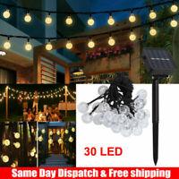 2W Solar Powered 30LED String Light Garden Path Yard Lamp Outdoor Waterproof US