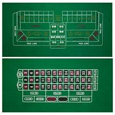 """2-Sided 36"""" x 72"""" Craps & Roulette Casino Gaming Table Felt Layout Mat"""