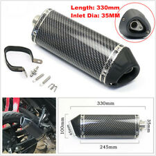 35mm Dia. Motorcycle Racing Carbon Fiber Style Tail Exhaust Muffler Pipe w/Clamp