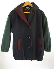New York Girl NYG 80's Blue Green Maroon Wool Blend Hooded Coat Size 8 USA Made