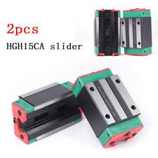 2x Square Linear Guide Rail Block Slider Carriage Block Guideway Bearing Hgh15Ca