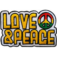 Embroidered Love and Peace Patch Badge Iron Sew On Hippie Rasta Reggae Sign Logo