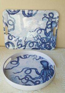 Melamine Serving Tray Blue Octopus Set of 2