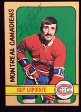 GUY LAPOINTE 1972 1973 TOPPS Autographed Signed HOCKEY Card JSA 57 CANADIENS