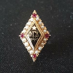 Phi Gamma Delta Fraternity old jeweled gold FIJI pin badge - Wow!