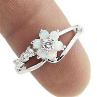 NEW Women Flower White Fire Opal 925 Silver Gemstone Jewellry Ring SZ6-9