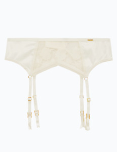 M&S Marks Spencer Autograph Peony Embroidered Suspender Belt Ivory Satin BNWT