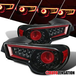 For 2013-2016 Scion FR-S BRZ Slick Black Tail Lights LED Bar Sequential Signal