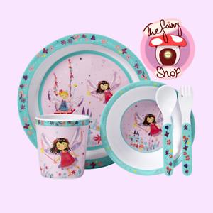 Ashdene Fairy Garden Kids 5 Piece Dinner Set Pink Multicoloured bowl cup plate