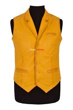 Smart Mens Leather Waistcoat Vest Yellow Napa Party Fashion Casual Business Vest