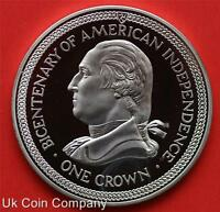 1976  Isle Of Man American Independence Silver Proof One Crown Coin
