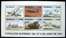 NICARAGUA WWII STAMPS SHEET MNH 1994 5OTH ANNIVERSARY OF D-DAY FIGHTER PLANE