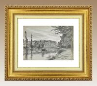 CHARLES WISLIN (1852-1932) BELLE SCENE DE BARQUE A NEMOURS VERS 1891 (119)