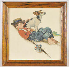 Vintage Paint By Number Norman Rockwell The Four Seasons 16 X 16 Boy Dog Framed